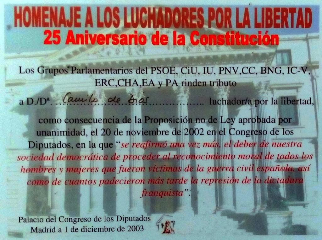 Diploma da homenaxe que rendeu á Guerrilla o Congreso no 2003.